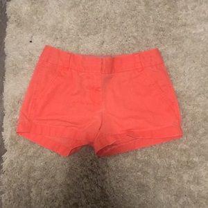 Coral J Crew Chino Shorts Size 00 EUC